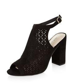 136938d393fce Chaussures noires à talons block, en suédine à motif découpé au laser   New  Look