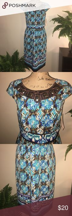 • Beautiful Sangria Dress • • Great Print • Zips Close in Back • Brand New • 97% Polyester • 3% Spandex • Sangria  Dresses