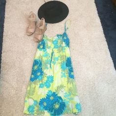 Aeropostale beach coverup! Dress with spaghetti straps. Very bright colors of green, blue and white! Size M Aeropostale Swim Coverups