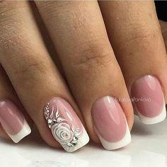 New Nail Art Best Nail Art Designs Tutorial (Beauty&Ideas Nail Art) Bridal Nails Designs, Manicure Nail Designs, Bridal Nail Art, Wedding Nails Design, Nail Manicure, Stylish Nails, Trendy Nails, Cute Nails, Nagellack Design