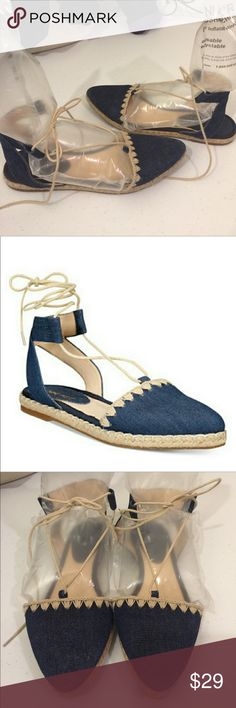 NINE WEST Denim Espadrille Flats EUC. Very gently loved. Blue denim espadrilles with tan braided jute platforms, embroidery, and ghillie laces that wrap around ankles. FLORAL EMBROIDERED JEANS AVAILABLE, sold separately. Please check out the rest of mycloset! Nine West Shoes Espadrilles