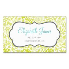 Lime Green Retro Floral Damask Business Card. This is a fully customizable business card and available on several paper types for your needs. You can upload your own image or use the image as is. Just click this template to get started!