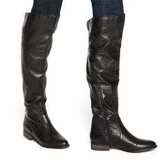 {the Cacee knee-high boot} black leather - like the zipper @ ankle; makes for easier on/off! Knee High Boots, Over The Knee Boots, Shoe Boots, Shoe Bag, Black Leather Boots, Fashion Shoes, Fashion Black, Swagg, Me Too Shoes