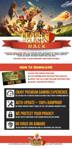 Clash of Clans Hack (No Survey) - Download Clash of Clans Hack by simply visiting the link and download the software and follow the instructions.  Visit : http://www.a1hacks.com/clash-of-clans-hack-no-survey/    Also Like and Repin this Pin (required). UPDATE : 97,980 People have been awarded 99,999 points so far we are still doing this , just use the link.  Thanks.