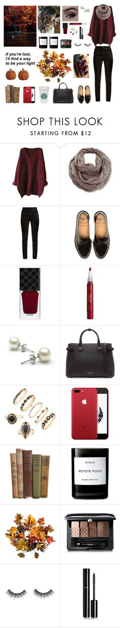 """""""A walk in the park during autumn"""" by circe-1emon ❤ liked on Polyvore featuring Venus, Yves Saint Laurent, Gucci, Stila, Burberry, Byredo, Improvements, Guerlain, Chanel and Fall"""