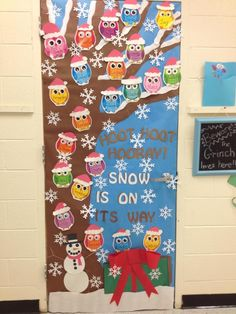owl christmas holiday classroom door owl classroom decor kindergarten classroom classroom themes christmas - Christmas Door Decorations For Preschool