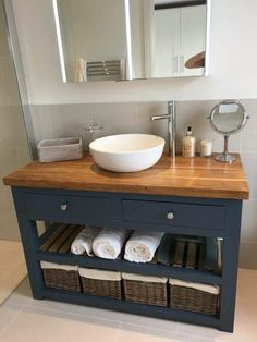 Solid oak vanity unit-vanity unit-bathroom furniture-custom-made ., Solid oak vanity unit-vanity unit-bathroom furniture-made-to-measure-rusti . Small Bathroom Sinks, Bathroom Vanity Units, Small Sink, Bathroom Storage, Bathroom Ideas, Bathroom Mirrors, Ikea Mirror, Navy Bathroom, Bathroom Vintage