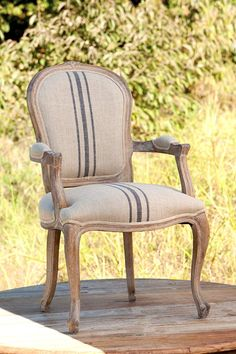 French Garden House.com Pair of country French striped linen armchairs $1400