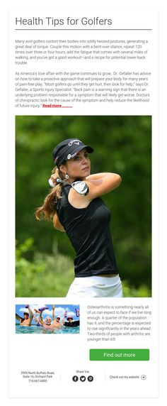 Health Tips for Golfers