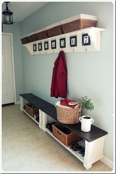 MUDROOM/LAUNDRY: I adore her idea of cutting an old coffee table in half and painting it to use for two end-to end benches in the entry way. I also LOVE her DIY framed numbers for the coat hooks. Initials would also be fun. Old Coffee Tables, Coffe Table, Home Decoracion, Diy Casa, Small Space Solutions, Parade Of Homes, Home And Deco, Home Living, Living Rooms