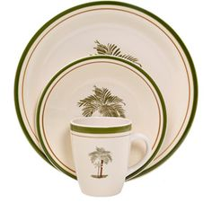 Mainstays Palm Villa 16-Piece Dinnerware Set, Multi-Color