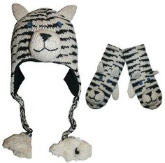 98286257 Agan Traders Wool Fleece Animal Hat Mitten Set- Siberian Tiger One Size «  Clothing Adds