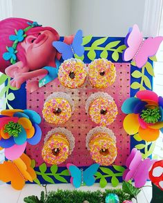 Trolls donut wall, vibrant and full of colour