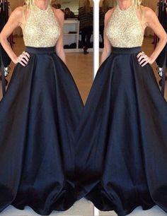 2016 long prom dresses, ball gown, gold beaded black long prom dresses