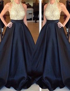 2016 long prom dresses, ball gown, gold beaded black long prom dresses