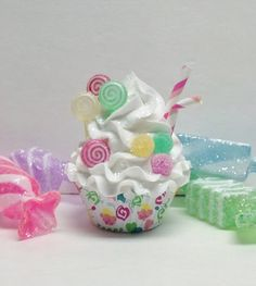 candyland themed christmas ornaments | ... Candy Land inspired Christmas, Cupcake Ornaments, Secret Santa Gifts (Fake Candy Cake)