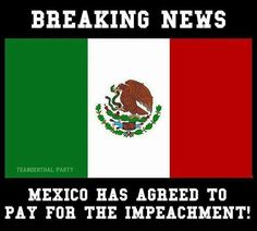 Breaking News! Mexico as agreed to pay for the impeachment of Trump! Donald Trump, Political Cartoons, Greed, Satire, Just In Case, I Laughed, Laughter, Lol, Shit Happens