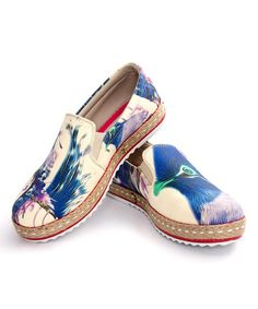 Look what I found on #zulily! Beige Watercolor Peacock Slip-On Espadrille #zulilyfinds
