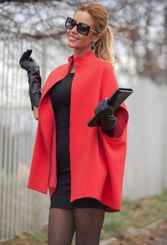 From fashion-zeit.tumblr.com Red cape coat, black mini, black leather gloves