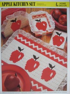 free patterns for plastic canvas | Apple Kitchen Set Plastic Canvas Pattern for by PatternsAndSuch
