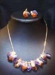 Amethyst and citrine point necklace