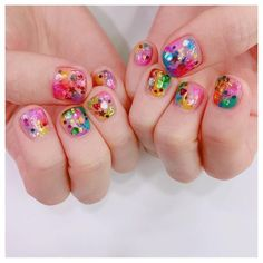Pin by Sara on Nail art in 2019 Gorgeous Nails, Love Nails, My Nails, Pretty Nail Art, Cute Nail Art, Colorful Nail Designs, Nail Art Designs, Korean Nails, Kawaii Nails