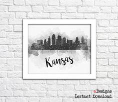 Printable Kansas City Watercolor Decor Kansas Skyline by eDesignss