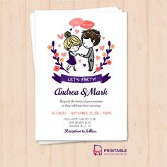 FREE PDF - I Do, Me Too Let's Party Wedding Invitation Template - Free to download, easy to edit and print at home, for DIY brides