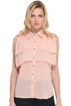 $28 | Sleeveless Layered Ruffle Chiffon Pink Shirt, The Latest Street Fashion http://www.romwe.com/sleeveless-layered-ruffle-chiffon-pink-shirt-p-67927.html?Pinterest=fyerflys