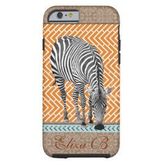 SOLD   Easily personalize this iPhone 6 Plus case for great protection and decoration for your new iPhone 6 Plus. Vintage tan and blue design is chic, elegant, and eye catching! Contact me at ElizaBGraphics@aol.com if you need help. #iPhone6 #case #Africa #zebra #safari #monogram #tribal
