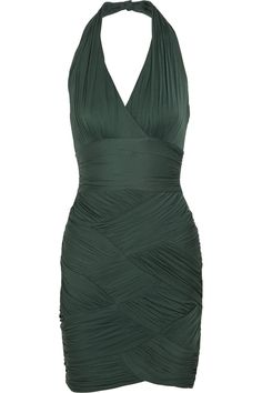 Ruched stretch-crepe jersey dress by Halston Heritage