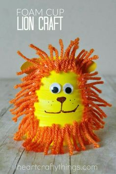 This foam cup lion craft for kids is a cute summer kids craft and makes a great family activity after visiting you local zoo. You can find more fun animal crafts for kids on this site too. Cute for Yom Yerushalayim Zoo Crafts, Bible Crafts, Camping Crafts, Preschool Crafts, Kids Crafts, Craft Projects, Craft Ideas, Kids Diy, Decor Crafts