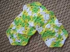 Five cheery hexagon crocheted scrubbies, facial pads or Tawashis are an earth-friendly way to remove make-up, wash your face or exfoliate your skin. They
