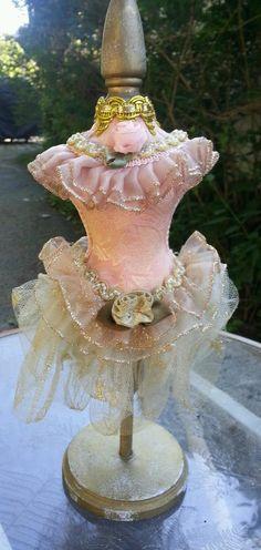 Vintage Lady Half Doll Fancy Dress Form Table Top Pin Cushion