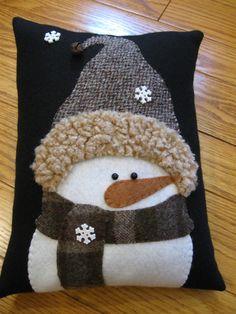 Winter Snowman Pillow....All Bundled Up by Justplainfolk on Etsy