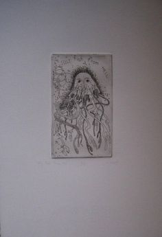 Available on KatrinaWestArtist shop Jelly fish from Hell ETCHING 3/5  Black and White  Print