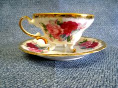 cup with 3 legs | Vintage Tea Cup and Saucer, Fine China with Three Legs and Red Roses ...