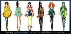 Disney princesses go fashion I by Sashiiko-Anti on DeviantArt