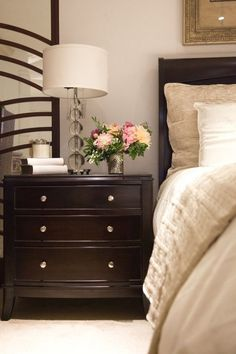 Looking to lighten up your dark bedroom furniture? Try adding new ...