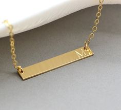 Initial Bar Necklace, Delicate Necklace, Personalized Name Necklace, Dainty Gold Bar, 14k Gold chain, Silver, Rose Gold, Gift For Her, 4x30 by goldenbijoux. Explore more products on http://goldenbijoux.etsy.com