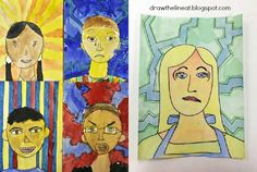 3rd: emotional self-portraits. better/faster than conversation portraits, try drawing background pattern out next time