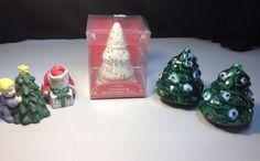 Christmas Salt & Pepper Shakers Lot Hallmark Tree Santa 3 Sets