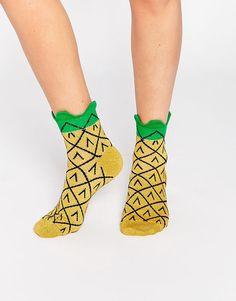 Image 1 ofASOS 3D Welt Glittery Pineapple Ankle Socks