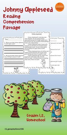 This engaging Johnny Appleseed reading comprehension passage for grades 1-2 can be used in your class to help your students with reading comprehension skills as well as with test taking skills.  Please take a preview peek!    Included: An engaging passage with 4 multiple choice questions and 2 written responses.