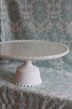 Milk Glass Cake Stand / Vintage Cake Pedestal Cake Plate Cake Dish Cake Platter Pedestal for Custom Wedding Cakes / Cupcake Stand. $160.00, via Etsy.