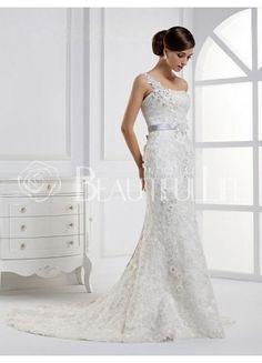 $239.49 Charming One-shoulder Flowered Floor-length Chapel Train Lace Wedding Dress With Sash #princess #Floral #wedding dress