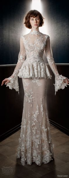 galia lahav spring 2018 bridal long sleeves sheer high neck sweetheart neckline full embellishment peplum victorian vintage sheath wedding dress keyhole back sweep train (tesla) mv -- Galia Lahav Spring 2018 Wedding Dresses