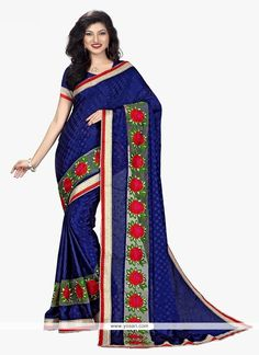Intrinsic Faux Crepe Navy Blue Patch Border Work Traditional  Saree Model: YOSAR9207