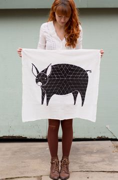 Tea Towel  Featuring a large Pig Illustration  100% cotton, and professionally screen printed with black ink     - Gingiber on etsy