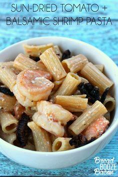 Sun-Dried Tomato + Balsamic Shrimp Pasta | Bread Booze Bacon
